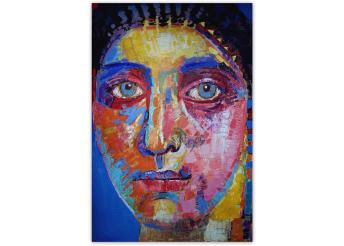 This is a colorful impressionist portrait of a woman with blue, orange, yellow, and pink highlights and details