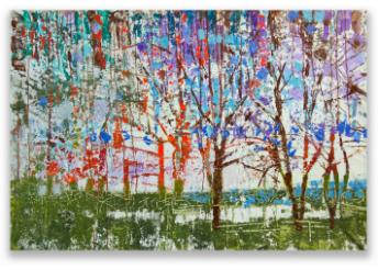 This is a colorful impressionist painting of a forest with green, purple, blue and red trees