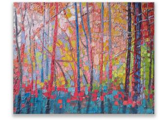 This is an colorful impressionist painting of a pinewood forest with blue,red, pink, yellow and green trees.
