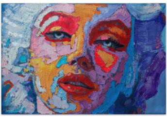 This is a colorful impressionist portrait of Marilyn Monroe with purple, blue, orange and red highlights and details