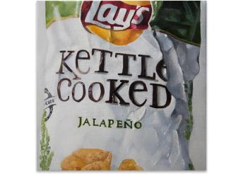 James Zamora Jalapeno  James Zamora is a contemporary realist painter investigating ongoing trends  and popular products and their effects on the consumer.   Acrylic on Canvas