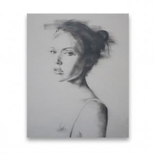 portrait of a womans face by janos hustzi on canvas